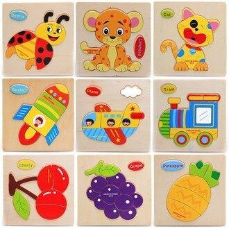 木製立體拼圖 木質動物交通水果蔬菜立體拼圖 寶寶幼兒童木製益智拼板