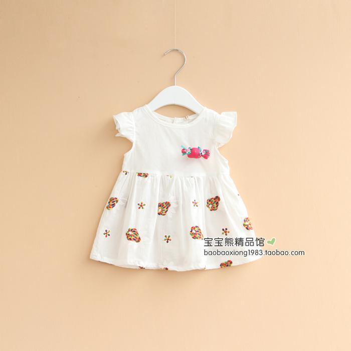 糖果可愛繫 夏季兒童連衣裙 女童小飛袖背心裙寶寶嬰兒裙子純棉