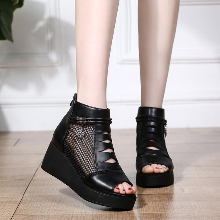 楔形鞋 春夏季坡跟網紗魚嘴鞋女鬆糕厚底內增高涼鞋鏤空透氣涼靴 一級棒Al新品 全館免運