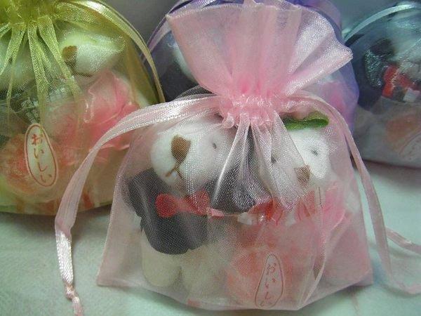 歡樂時光禮品~婚禮小物熊愛您~成雙成對婚紗熊~*送喜糖*含素色雪紡紗袋*可製成婚禮簽名筆