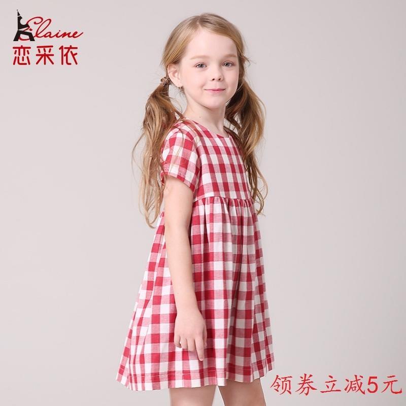 戀采依童裝女童夏季新款韓版中大兒童純棉蝴蝶結格子連衣裙字裙