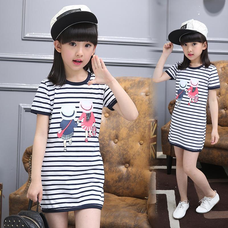 小孩夏季連衣裙短袖寶寶韓版純棉條紋公主裙女童修身薄款夏天裙子