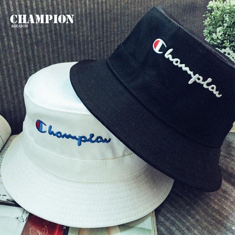 春夏季日本潮牌CHAMPION冠軍複刻男女款黑白情侶漁夫帽盆帽男帽子