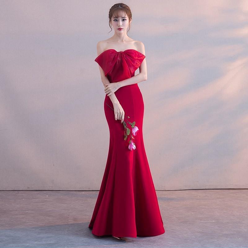魚尾敬酒服新娘2017新款秋冬結婚長款修身顯瘦性感紅色抹胸晚禮服