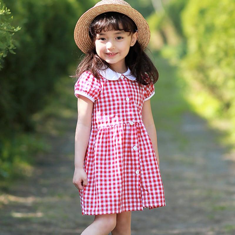 2016夏季新款韓版紅色格子短袖全棉女童連衣裙襯衣裙童裝