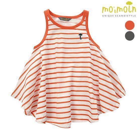 打折款專櫃正品代購15夏季款女寶女童無袖條紋純棉連衣裙