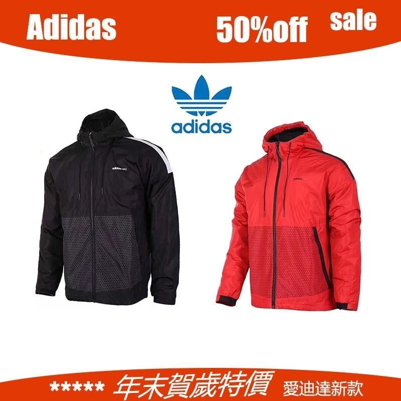 adidas neo 運動外套 黑紅色 基本款 三葉草 愛迪達 開衫連帽風衣外套