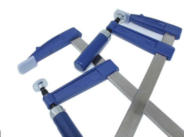 藍色 加厚型 德標 重型 木工 夾具 木工夾 F夾 快速夾 拼板 附護套保護 多種規格 (木柄) 快速夾具