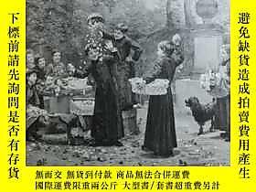 古文物【罕見】1900年木刻版畫《兒童間的嬉戲》(von der Prozession) 尺寸約41*29釐米( 100