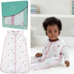 【蓁寶貝】正品 英國皇室最愛品牌 美國 aden+anais 嬰兒紗布睡袋/禮盒組(愛心點點) 四季款