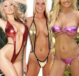 歐美性感亮面漆皮裝情趣三點式迷你比基尼鏤空露乳裝性感連身衣 3種款式