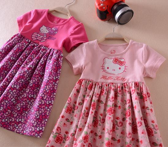 童裝 出口日本大裙擺女童純棉短袖連衣裙 夏季裙子