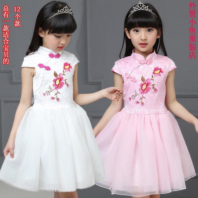 童裝兒童連衣裙碎花公主裙短袖寶寶紗裙女童旗袍夏季2016新款純棉