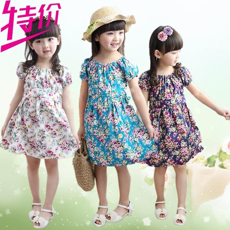 夏季女童連衣裙兒童碎花韓版中大童公主裙中長款全棉短袖裙特價