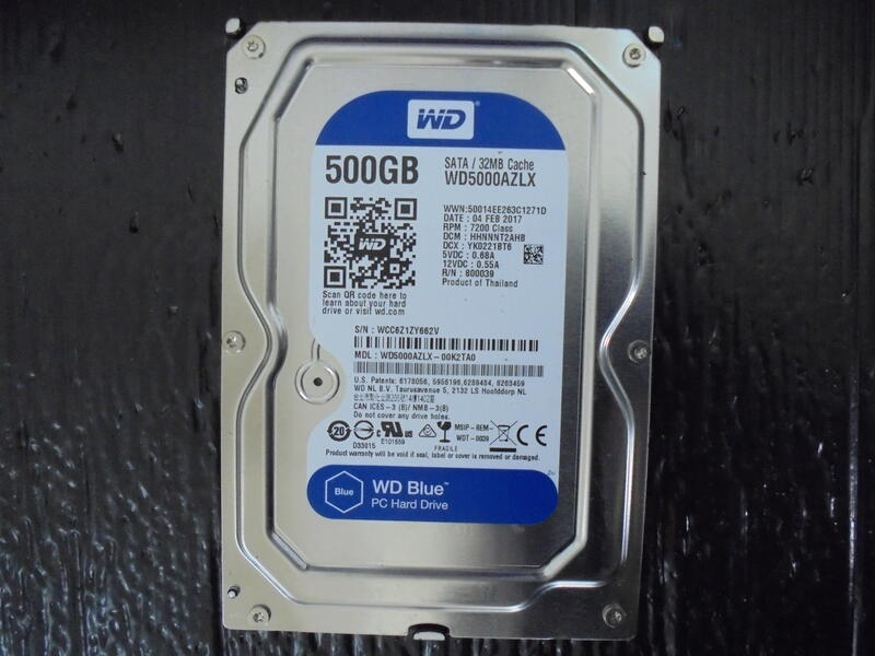 WD Blue 藍標 3.5吋硬碟 WD5000AZLX 500G SATA/32MB