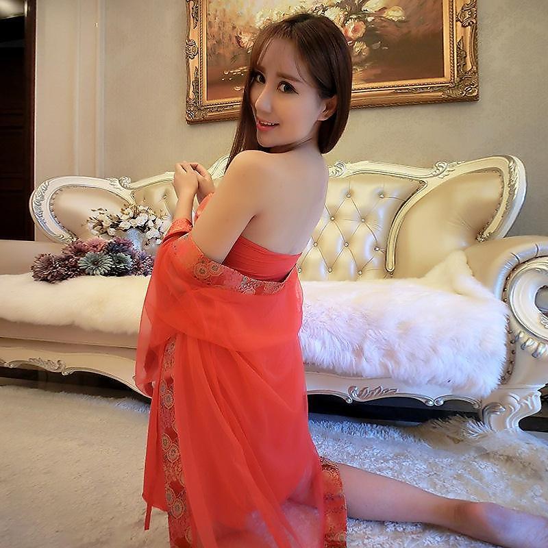 318百貨-情趣內衣 睡衣女性制服漏乳裹胸和服紅色貴妃新娘裝