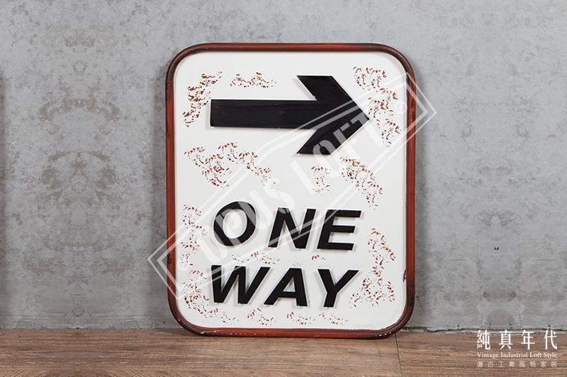 [純真年代工業風家居] 2002 復古工業風  復古立體鐵牌 交通標誌 直行 ONE WAY