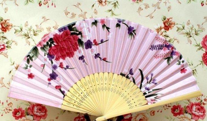 女生小扇子 布面折扇 折疊扇 粉色 女扇 絹扇 粉色扇面原色扇骨 7寸 7吋絹扇