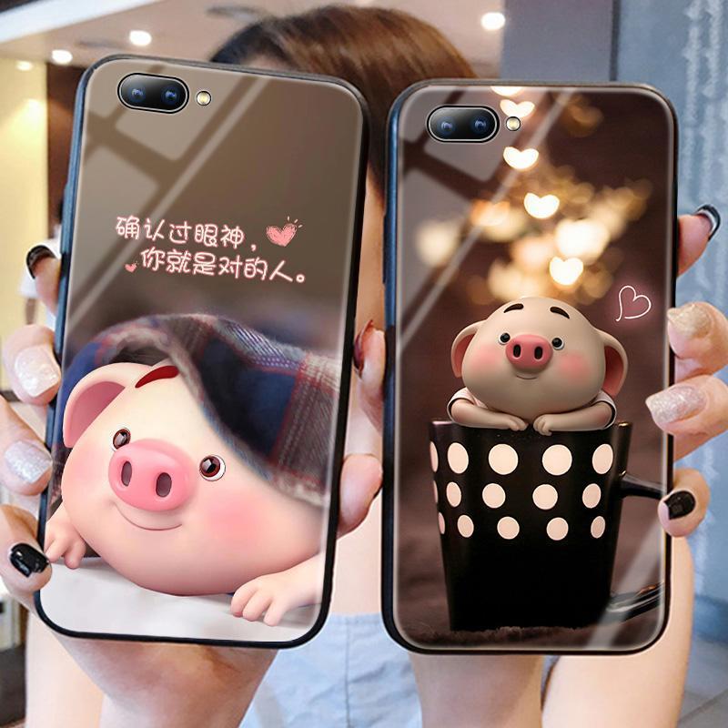 999小舖oppoa5手機殼豬小屁同款a9玻璃套a57網紅豬oppo a59s個性創