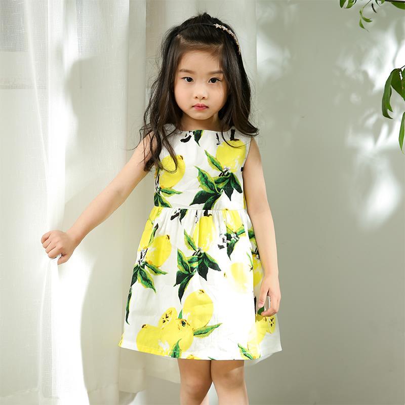夏裝女童連衣裙2016夏季無袖背心女孩童裝韓版純棉檸檬印花公主裙