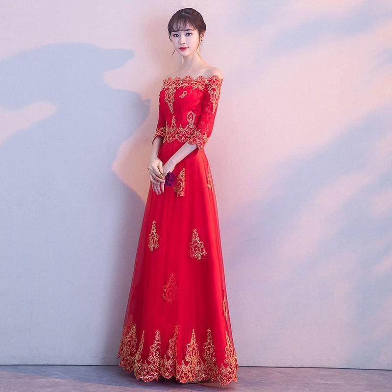 一字肩敬酒服新娘紅色2017結婚新款冬季優雅公主婚禮晚禮服長款女