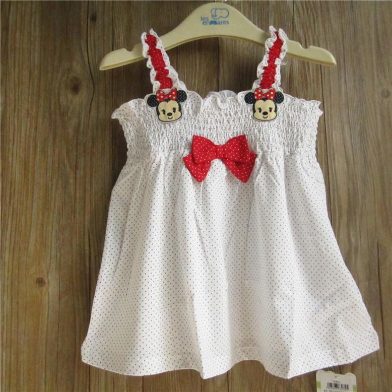 麗嬰房正品夏季女童寶寶嬰幼兒波點純棉吊帶連衣裙