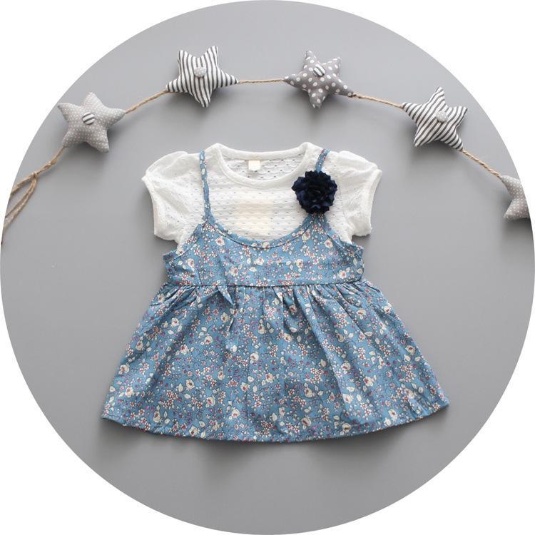 女童夏季短袖連衣裙0-3歲寶寶薄款純棉短裙