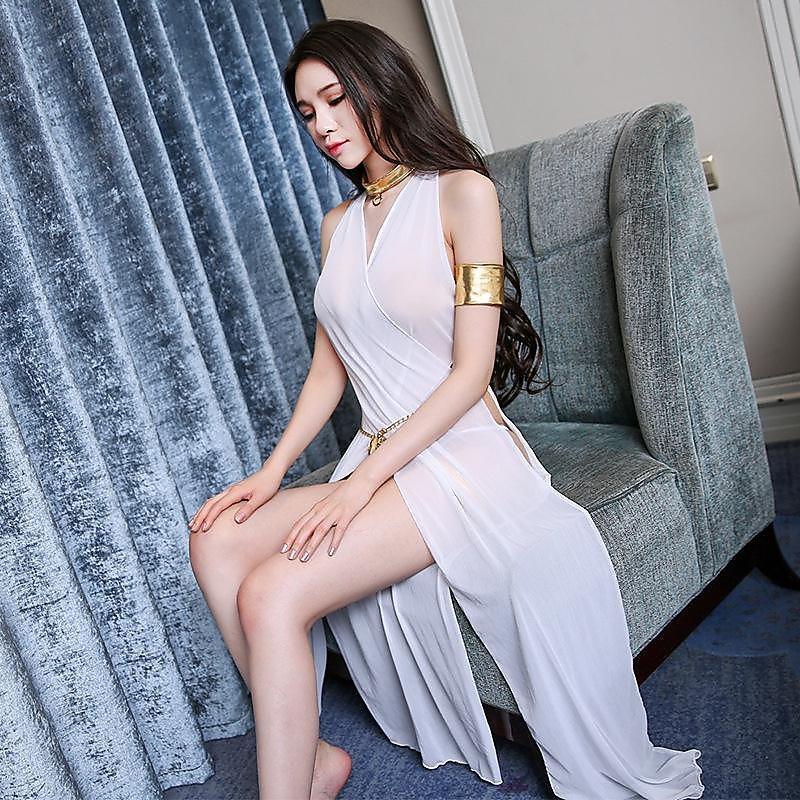 318百貨-歐美性感網紗女情趣內衣誘惑春夏寬松吊帶透明薄紗蕾絲長
