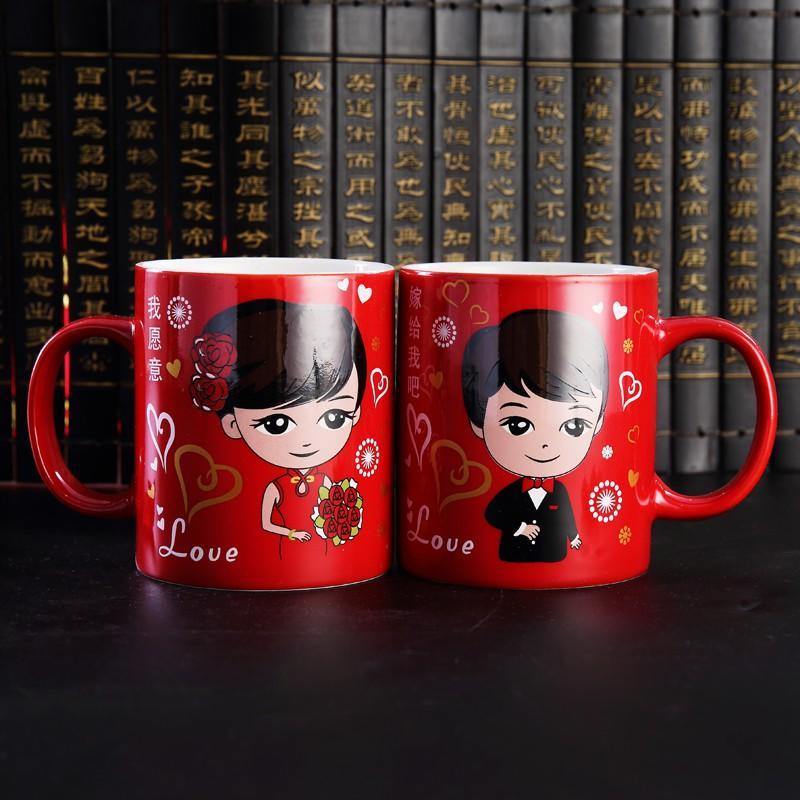 【熱賣】低價 結婚慶用品紅色陶瓷杯子新人洗漱陪嫁牙杯牙刷咖啡杯情侶馬克對杯
