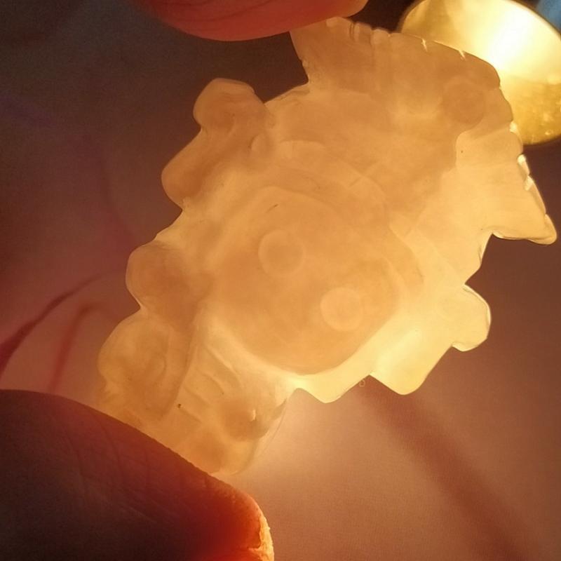 🦚九天玄女🦚天然緬甸玉 A貨翡翠-白冰 精雕 Q版 九天玄女