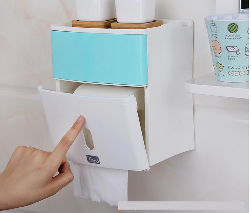 防水多功能紙巾盒、無痕免釘牆、收納盒、衛生紙盒、置物架、廁所浴室廚房
