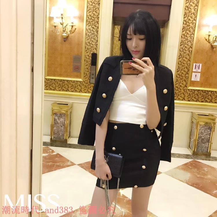 巴爾曼氣質OL雙排扣西裝短款外套+高腰雙排扣A字半身裙套裝女