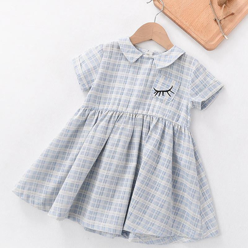2016新款夏季女童連衣裙夏裝小女孩裙子全棉格子女寶寶公主娃娃領