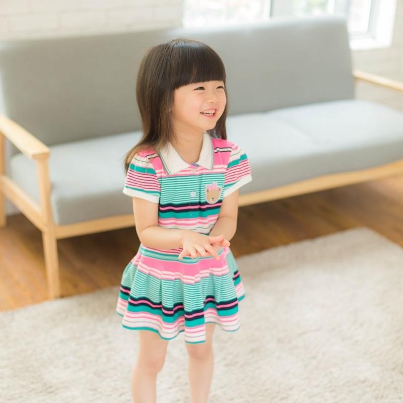 2016夏裝新款女童純棉彩條紋連衣裙夏季兒童寶寶運動休閑衛衣裙子