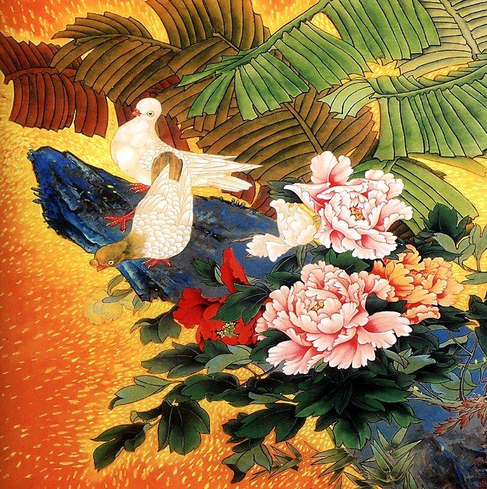 【幸運星】和平鴿牡丹畫 風水畫 絲綢畫 無框畫 國畫送禮辦公室居家客廳裝飾畫 60*60公分 0905 41