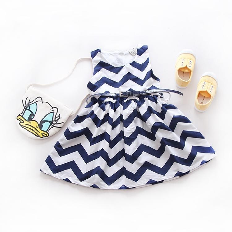女童夏季公主裙 2016新款英倫風連身裙 兒童純棉條紋連衣裙背心裙