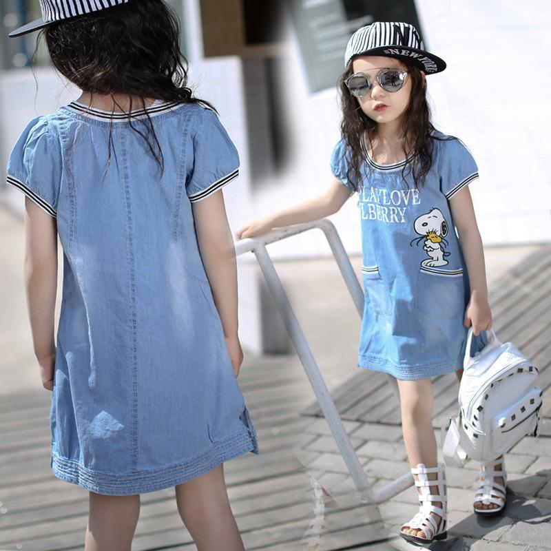 兒童2016夏季新款女童連衣裙韓版夏款中大童卡通字母純棉牛仔裙