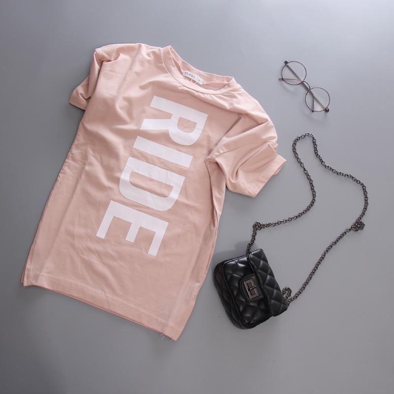 韓版時尚小女童夏季連衣群字母短袖恤裙兒童純棉針織簡約連衣裙