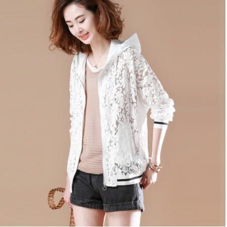素木鏤空蕾絲白色外套女 2017春夏季新款韓版大碼薄款防曬衣