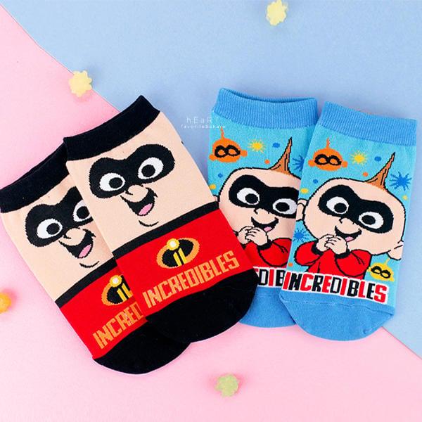 【傻米屋】迪士尼超人特攻隊系列直版童襪 巴小傑 短筒襪 短襪 童襪 卡通印花襪