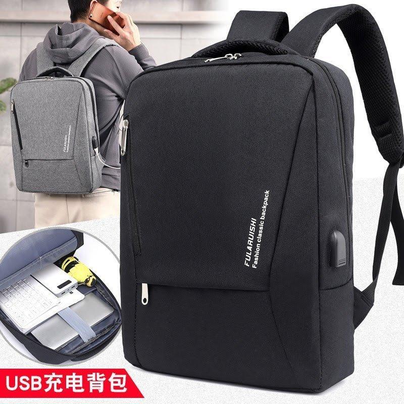 【 新和3C館  三色可選 】 2018 新款15.6 吋筆電商務電腦雙肩背包 男韓版時尚休閒背包 USB充電背包