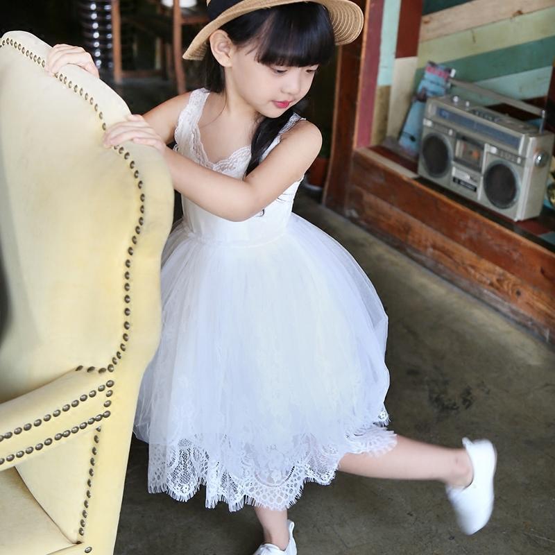 女童蕾絲連衣裙夏季韓版2016新款小童純棉吊帶裙子網紗蓬蓬公主裙