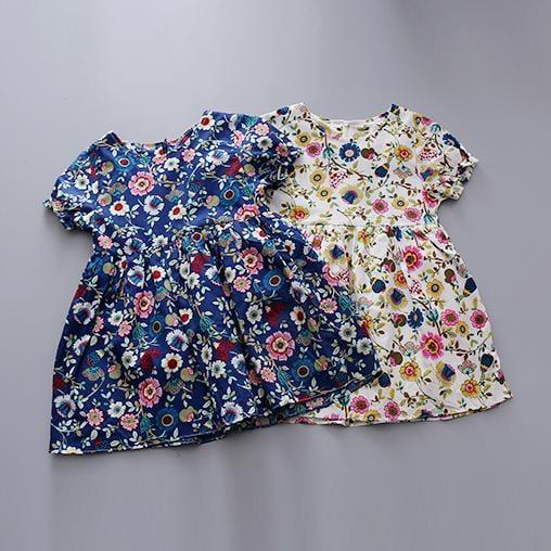 2016夏季女童碎花連衣裙女寶寶碎花全棉連衣裙子韓版中袖短袖