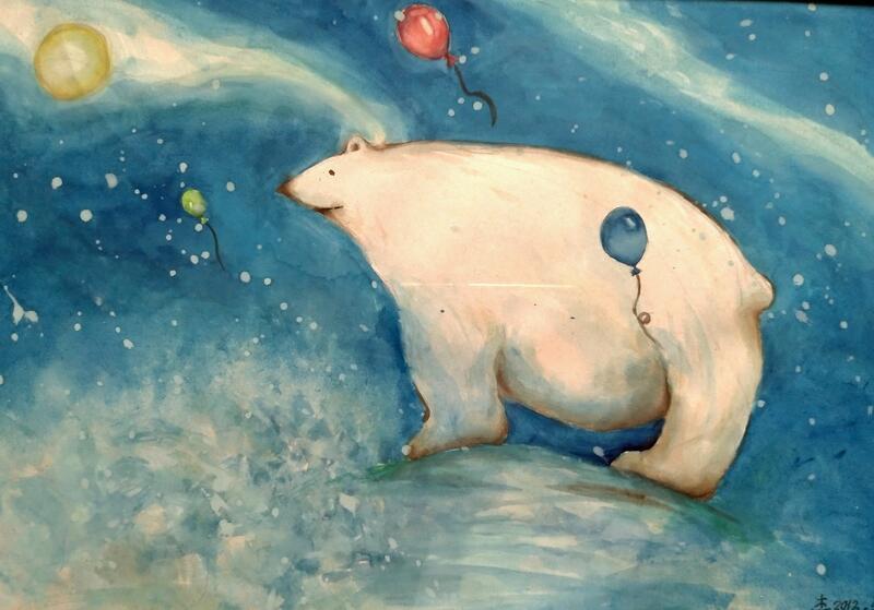 北極熊與月亮_遠眺 25.7cmx36.4cm(約8開大小)水彩畫