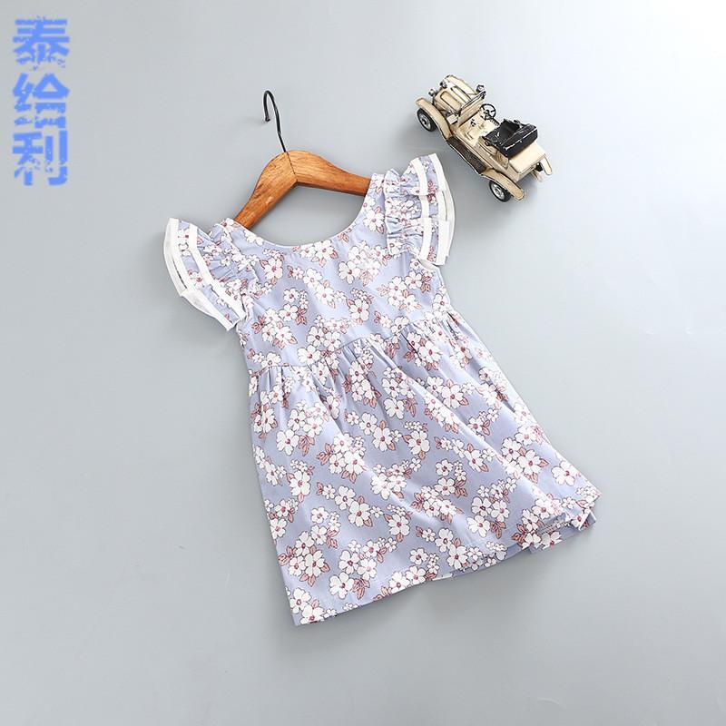 童裝2016夏季新款韓版露背短袖連衣裙女童純棉背帶碎花公主裙