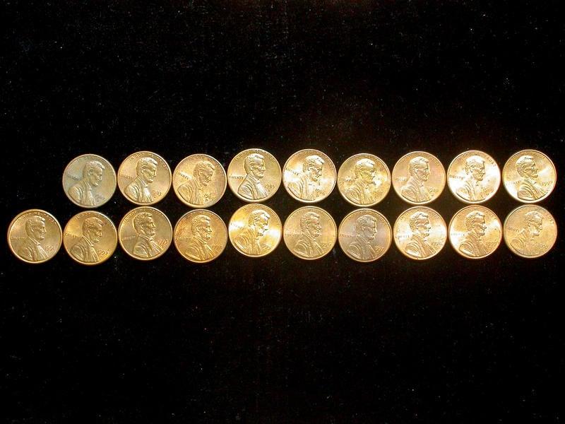 ★ 福閣收藏 ★ 美國 錢幣 1982至2000年 1 Cent 連續的不同年份共19枚(全部D版)