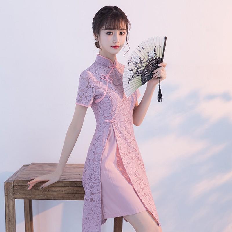 日常旗袍秋款2017新款時尚改良韓版a字裙短款少女學生連衣裙冬季