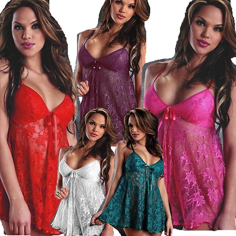 性感 睡衣 歐美情趣內衣性感 爆款透明大碼蕾絲吊帶睡裙套裝