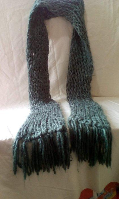 潮流圍巾 韓風綠色銀絲線大毛線織法魚網造型圍巾 長度可繞2圈 舒適透氣 .有美感的秋冬女款 男士也適用 生日禮物