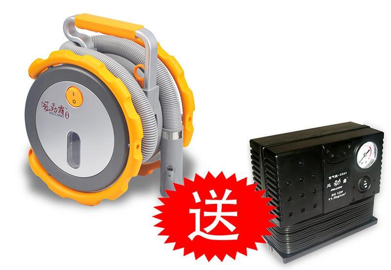 買一贈一活動 買Volcano VC800車用12V超強吸力乾濕兩用便攜吸塵器贈PRK300-12V車用打氣機
